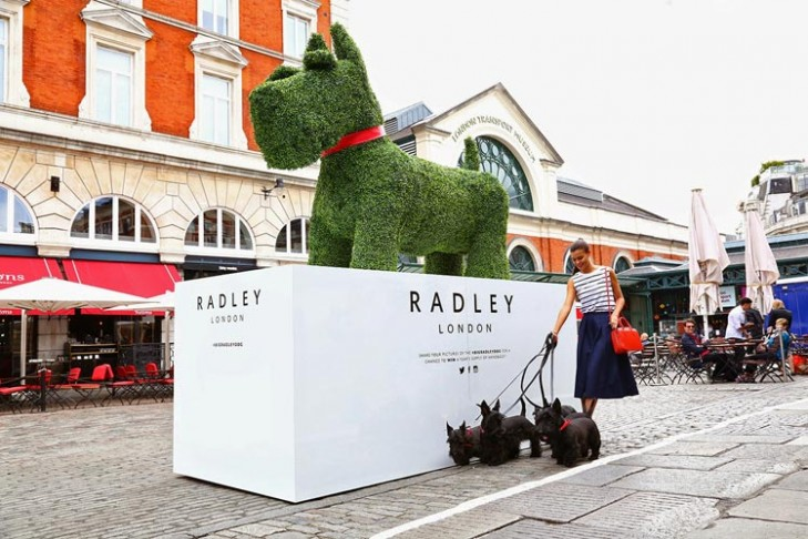 Radley dog in artificial topiary.