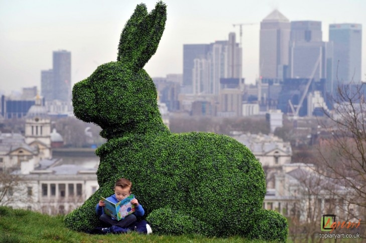 Giant green Easter bunny appears in London cityscape to get the nation growing